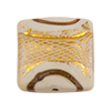 Reticello Square Opaque Ivory, Off White with Gold and White Reticello, 24mm