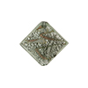 Murano Glass Bead Silver/Aventurina Diamond 17mm Gray