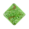 Murano Glass Bead Silver/Aventurina Diamond 25mm, Peridot