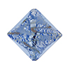 Murano Glass Bead Silver/Aventurina Diamond 25mm, Blue