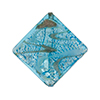 Murano Glass Bead Silver/Aventurina Diamond 25mm, Aqua