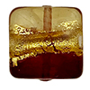 Red and Topaz Gold Serale Murano Glass Vel Square Bead, 13mm