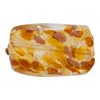 Murano Glass Bead Topaz Gold Foil Twisted Rectangle 30mm