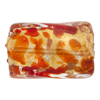 Murano Glass Bead Red Gold Foil Twisted Rectangle 30mm