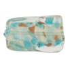 Murano Glass Bead Aqua White Gold Foil Twisted Rectangle 30mm