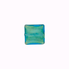 10mm Square Murano Glass Bead, Aqua over 24kt Gold Foil