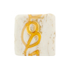 Venetian Glass Bead Gold Loops Opaque White Gold Foil Square 20mm