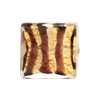 Murano Glass Bead Square Tigrato 20mm, Chocolate Gold Foil