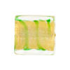 Murano Glass Bead Square Tigrato 20mm, Peridot Gold Foil