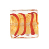 Murano Glass Bead Square Tigrato 20mm, Red Gold Foil