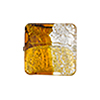 4 Colors Gold and Silver, Topaz, 18mm, Vela Square, Murano Glass Bead