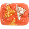 Orange Vicenza Large Silver/Gold Rectangle, Murano Glass Bead 35x30
