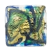 Aqua, Blue Aventurina Gold Foil Galaxy, 24mm Square, Murano Glass Bead