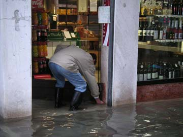 Flooding in Stores in Venice Italy