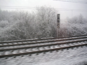 Train Tracks covered with snow between Venice and Mestre