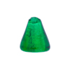 17mm Murano Glass Cone Bead, Emerald over Silver Foil