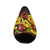 Murano Glass Bead Bed of Roses Exterior Gold Foil Teardrop 23mm Black