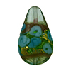 Murano Glass Bead Bed of Roses Exterior Gold Foil Teardrop 23mm Aqua