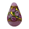 Murano Glass Bead Bed of Roses Exterior Gold Foil Teardrop 23mm Opaque Pink