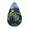 Murano Glass Bead Bed of Roses Exterior Gold Foil Teardrop 23mm Blue