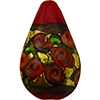 Murano Glass Bead Bed of Roses Exterior Gold Foil Teardrop 23mm Opaque Red
