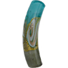 Verde Marino, Gray, Aventurina and 24kt Gold Foil Mare Curved Tube 40x8 Murano Glass Bead