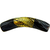 Reticello Curved Tube Black Murano Glass with Gold and White Reticello, 40x8mm