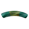 Reticello Curved Tube Opaque Green/Aqua Murano Glass with Gold and White Reticello, 40x8mm