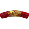 Reticello Curved Tube Red Murano Glass with Gold and White Reticello, 40x8mm