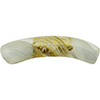 Reticello Curved Tube Opaque Ivory Murano Glass with Gold and White Reticello, 40x8mm
