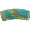 Reticello Curved Tube Opaque Turquoise with Gold and White Reticello, 50mm by 17mm