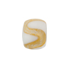 Murano Glass Bead Lampwork Small Barrel 15X10 Swirl White & Gold