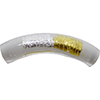 Murano Glass Bead Curved Tube Vicenza White Gold and Silver 40mm