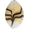 Venetian Glass Bead Feather Twist 44x27 Gold Foil Gray White