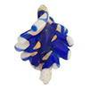 Cobalt Gold Foil  White Fancy Twist Beads 30mm Murano Glass Bead