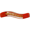 Murano Glass Bead Windows Wavey Rectangle 40mm Opaque Red Gold Foil