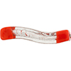 Murano Glass Bead Windows Wavey Rectangle 40mm Opaque Red Silver