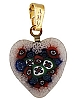 White/Blue/Red Millefiori 16mm Heart Gold Plate Bail