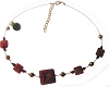 Red Fiorato Murano Glass Bead Square Wire Necklace 16 Inch with Extension, Gold Tone