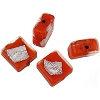 Orange Opaque Silver Splashes Tosca Square 12mm