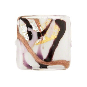 White and Pink Abstract Picasso Murano Glass Pillow Bead, 20mm Gold & Silver Foil