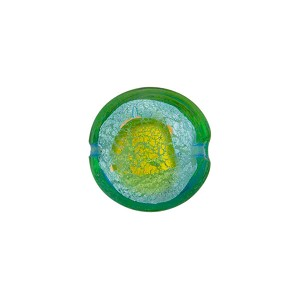 Acqua/Peridot Silver Foil Abstract Pieces Disc 14mm Murano Glass Bead