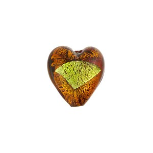 Murano Glass Bead Abstract Heart 13mm Topaz and Green Gold Foil