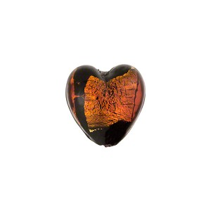 Murano Glass Bead Abstract Heart 13mm Black and Topaz with Silver Foil