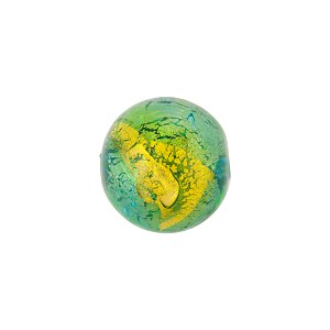 Aqua Green Gold Foil Murano Glass Bead Abstract Round 12mm, Murano Glass Bead