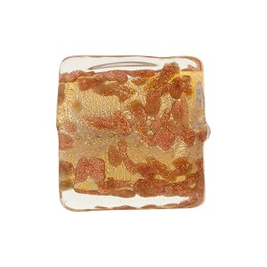 Clear Murano Glass with Avventurina Sparkles 17mm Square