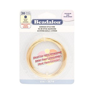 Beadalon German Style Wire, Round, Gold, 20 Gauge, 6 Meters