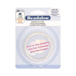 Beadalon German Style Wire, Half Round, Silver Plated, 20 Gauge, 3 Meters