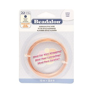Beadalon German Style Wire, Round, Copper, 24 Gauge, 12 Meters