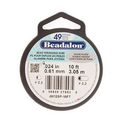 Beadalon 49 Strand Silver Plated Wire .024, 10ft